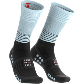 Compressport Oxygen Chaussettes de compression mi-hautes, black-iceblue